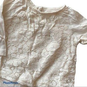 Baby Girls Off White Lace Long Sleeve Onesie
